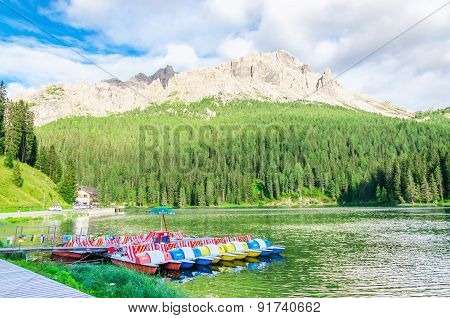 Lake Misurina in Dolomites, South Tyrol, Italy