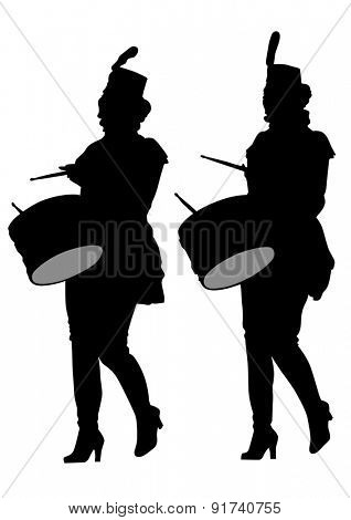 Younge girls with big drums on white background