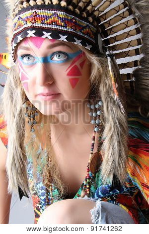 Portrait of a girl in the image of the native american