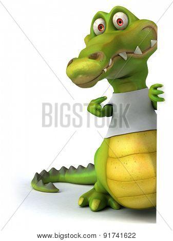 Crocodile with a white tshirt