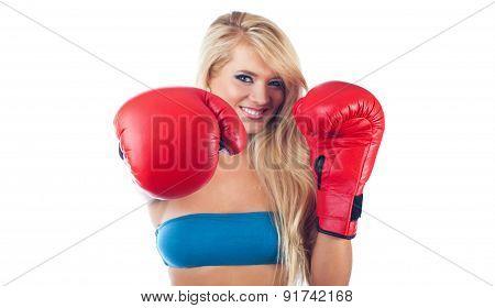 Photo Of Young Wonderful Woman Wearing Boxing Glove
