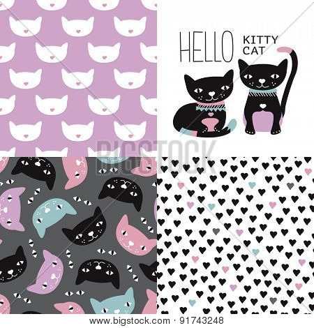 Hello Kitty cat postcard cover design and seamless kitten and cat illustration background pattern in vector
