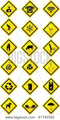 Collection Of Yellow Rectangular Signs