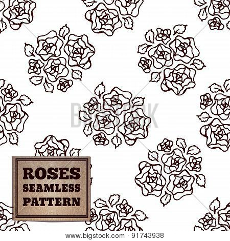 Seamless pattern with bouquet of roses