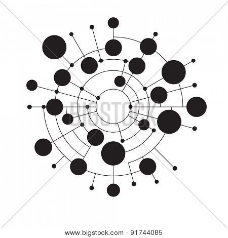 Abstract dots and circles connected by lines and curves. Concept of operation of computer network work. Background the nerve cells of the human.