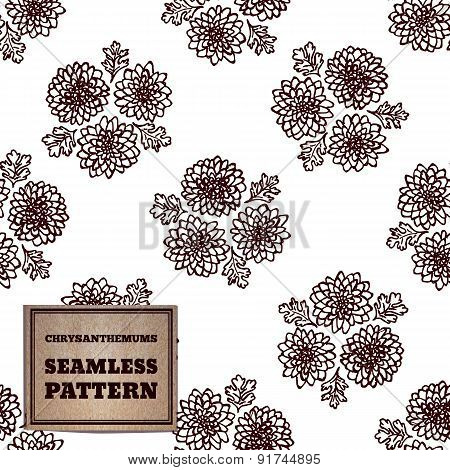 Seamless pattern with bouquet of chrysanthemums