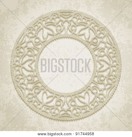 Circle Lace Ornament, Round Ornamental Geometric Doily Pattern With Empty Space For Text On The Old