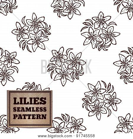 Seamless pattern with bouquet of lilies