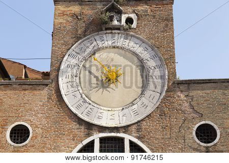 Antique Clock Of San Giacomo Di Rialto Church Near Rialto. San Giacomo Di Rialto Is A Church In The