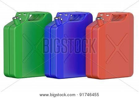 Set Of Colored Steel Jerrycans