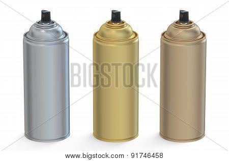 Set Of Metallic Aerosol Spray Cans