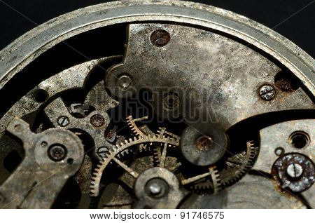 Closeup Of Old Clock Mechanism, Background For Your Vintage Engineering Design