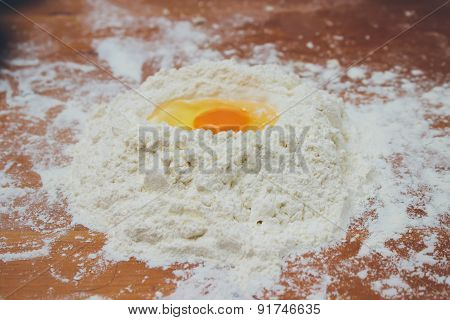 Food Ingredients: Egg Yolk On A Flour Staple. Retro Colors