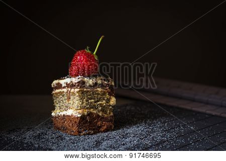 Piece Of Poppy Seed Cake With Strawberry