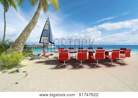 3D rendering of a meeting table in a tropical beach