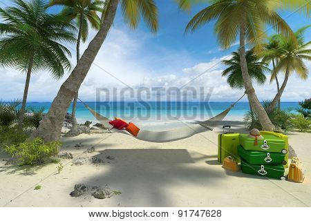 3D rendering of a tropical beach with a hammock and a pile of luggage