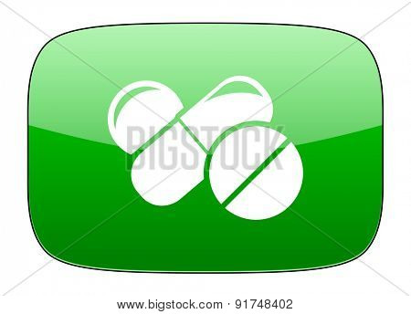 medicine green icon drugs symbol pills sign