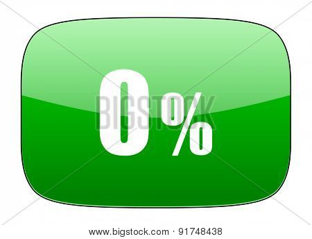 0 percent green icon sale sign