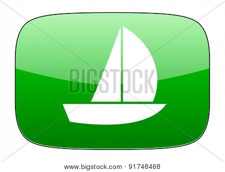 yacht green icon sail sign