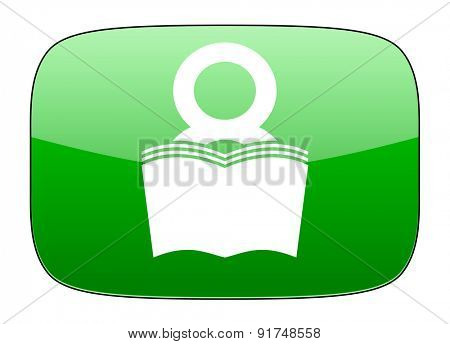 book green icon reading room sign bookshop symbol