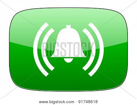 alarm green icon alert sign bell symbol
