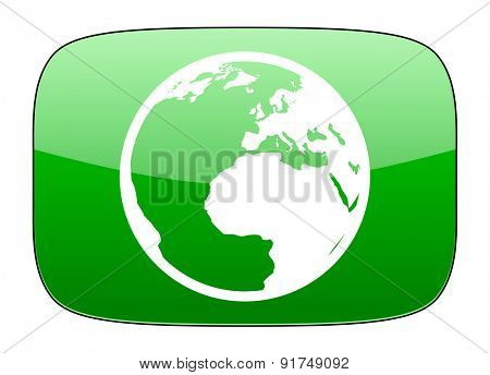 earth green icon world sign