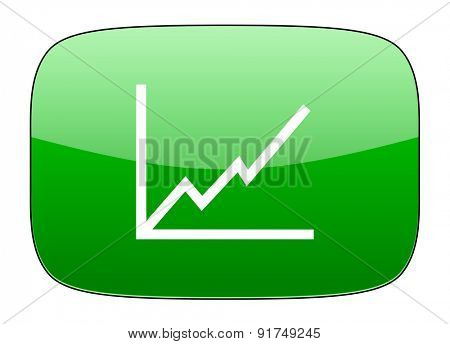 chart green icon stock sign