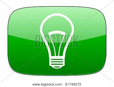 bulb green icon light bulb sign