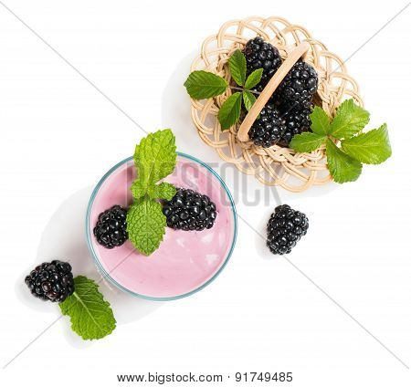 Berry Smoothie And  Blackberries, Top View