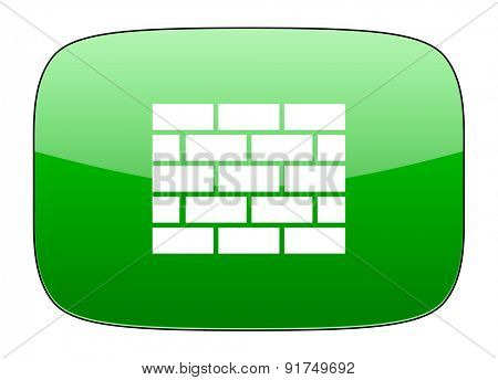 firewall green icon brick wall sign