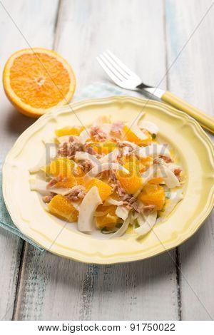 salad with tuna fennel and sliced orange, selective focus