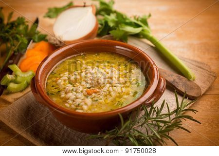 barley soup with vegetables, selective focus