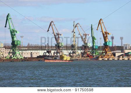 Old cranes in a dock