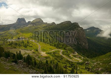 High mountain pass Falzerego in Italy