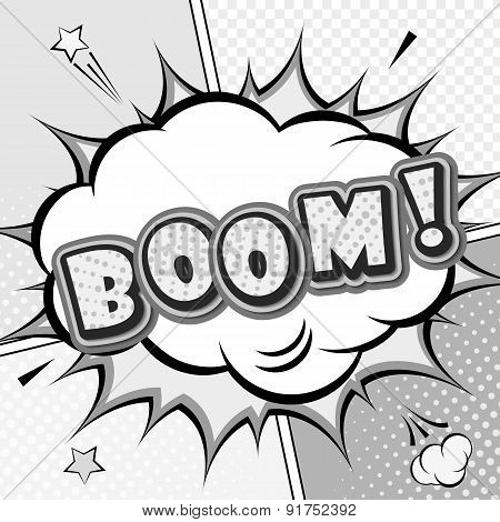 Boom. Vector Comic Book, Speech Bubble, Explosion. Pop Art