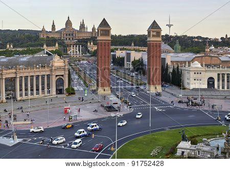Placa Espanya In Barcelona At Sunset
