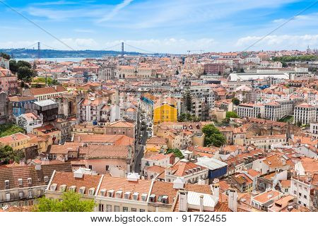View Of Lisbon From Miradouro Da Graca Viewpoint  In Lisbon, Portugal