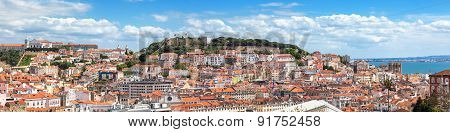 Panoramic View Of Lisbon From Sao Pedro De Alcantara Viewpoint - Miradouro In Portugal