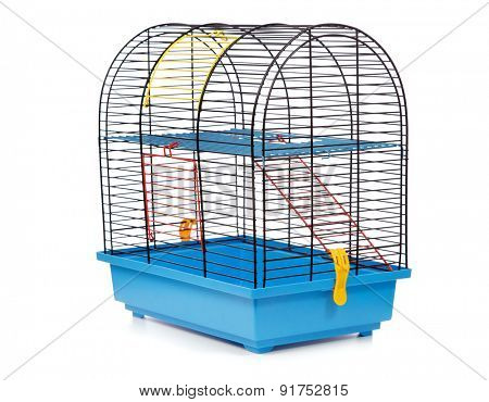 Pet rodent cage isolated on white background