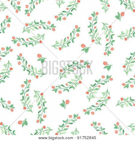 Seamless pattern with green  leaf. Vector illustration. Watercolor painted background