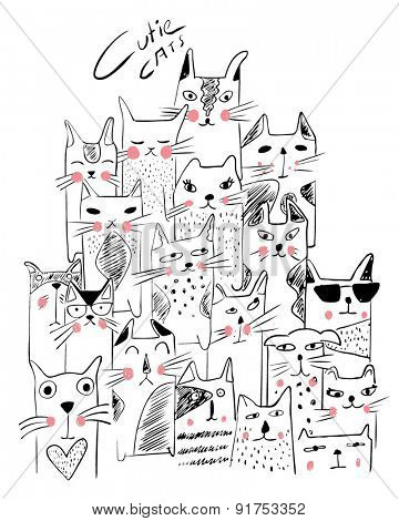 cats illustration sketch