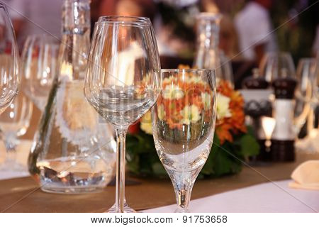 Wineglasses Setting On The Arranged Table In The Restaurant