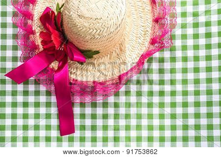 Female Straw Hat on the table (Festa Junina Theme)