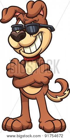 Cool cartoon dog wearing shades. Vector clip art illustration with simple gradients. All in a single layer.