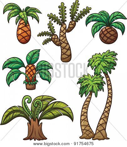 Prehistoric cartoon plants. Vector clip art illustration with simple gradients. Each on a separate layer.