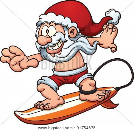 Cartoon surfing Santa Claus. Vector clip art illustration with simple gradients. All in a single layer.
