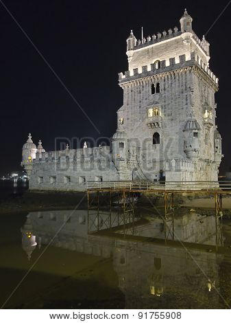 Tower Of Belem With Reflection