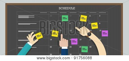 calendar schedule board with hand plan