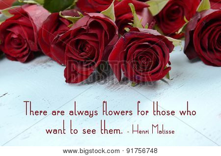Red Roses With Inspirational Saying Quote