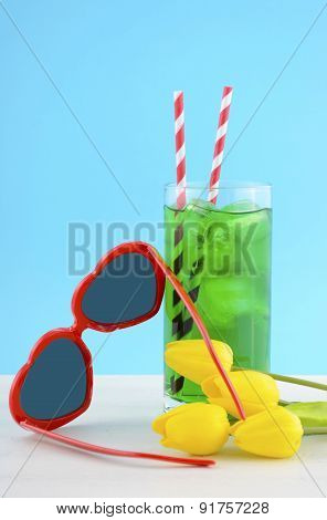 Summer Is Here Concept With Red Heart Shape Sunglasses